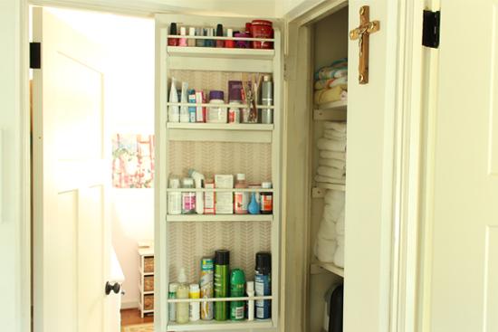 DIY Storage Rack on Back of Hall Closet Door