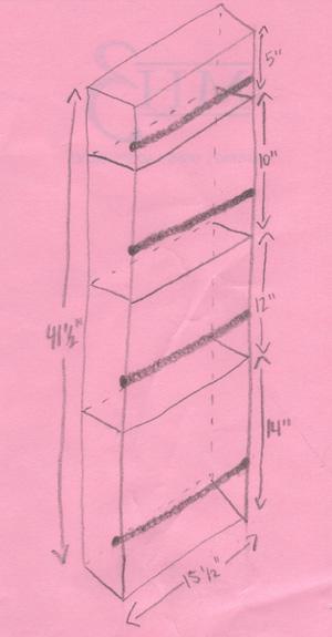Drawing of closet door caddy.