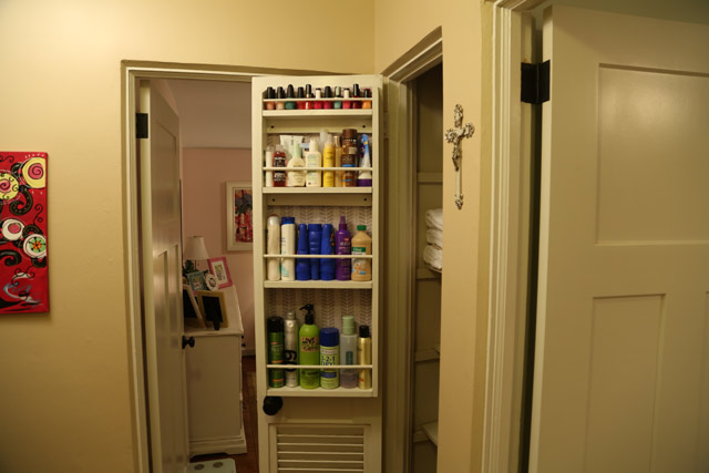 Completed closet door caddy hanging on closet door & How to Build a Door or Wall Mounted Storage Shelf | Checking In With ...