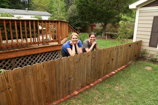 Chelsea and Shelby with Completed Fence Border