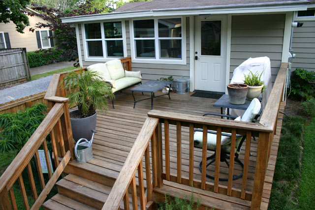 Stained Wood Deck With Drill Outdoor Furniture Potted Palm Tree