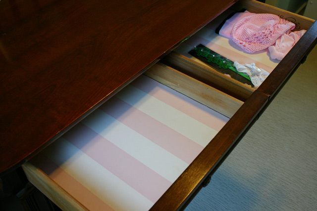 white and pink stripe wallpaper drawer liner