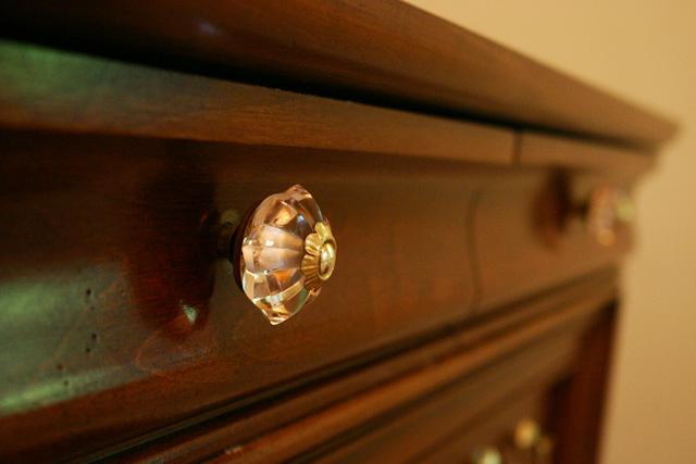Pink Glass Knob on Dresser