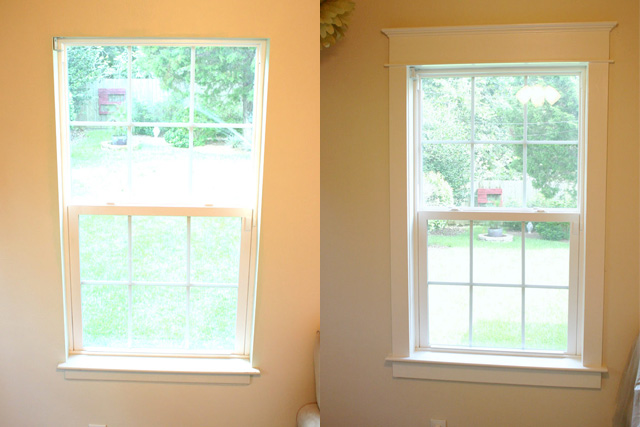 before and after side by side comparison of window trim