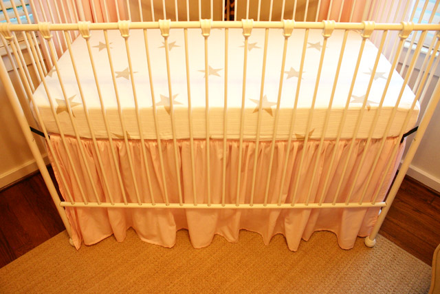 diy homemade ruffled crib skirt pink fitted sheet
