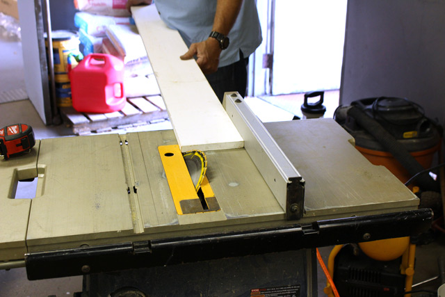 cutting pre-primed 1x6 material on table saw