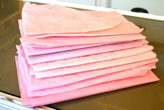 Stack of various pink tissue paper