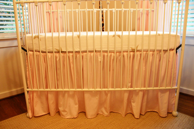 Pink Ruffled Crib Skirt Installed