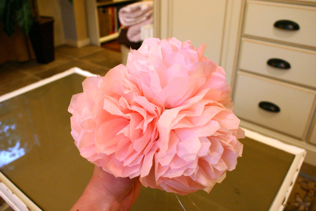 bouquet of pink peonies from tissue paper