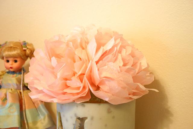 Tissue Paper Peonies in Mercury Vase