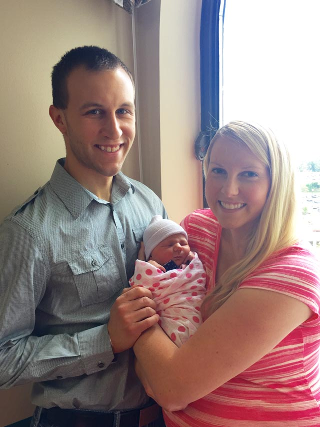 family with newborn at hospital