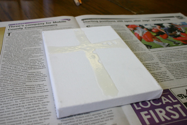 dried white school glue on white canvas