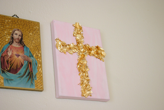 Completed Gold Leaf Cross Canvas