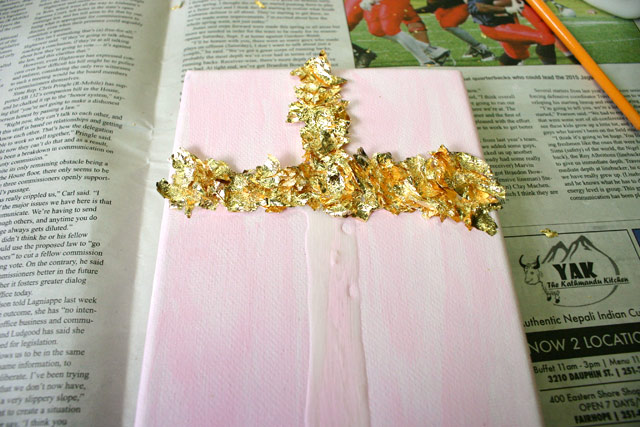 Half of Cross Covered in Gold Leaf