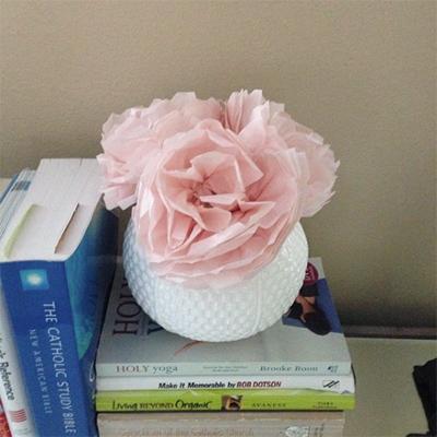 Original Paper Flowers in White Vase
