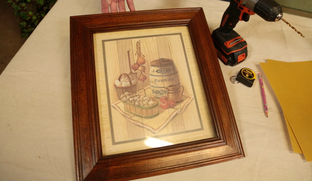 wooden picture frame with country kitchen print