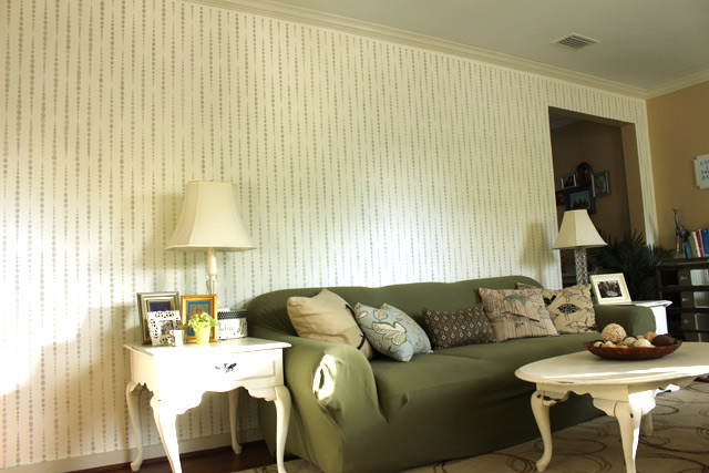 gray and white stenciled accent wall