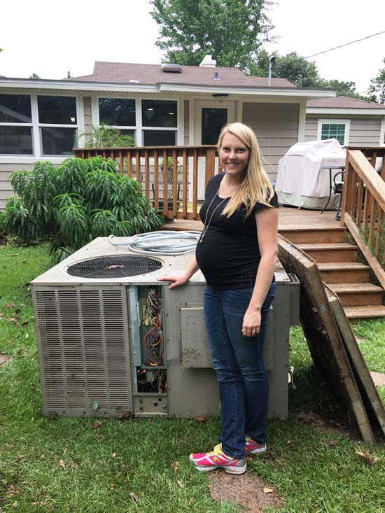 old, large package HVAC unit with chelsea 8 months pregnant