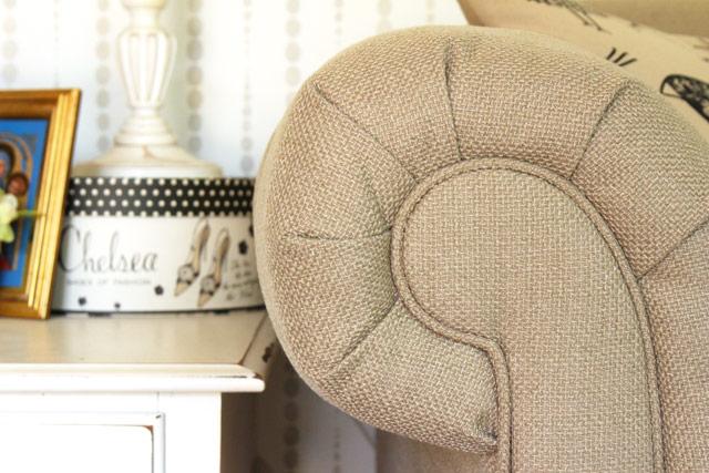 tan sofa arm white end table living room