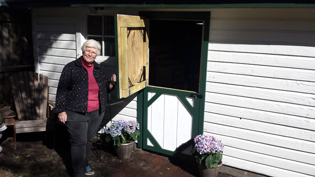 Catherine with New Dutch Shed Door