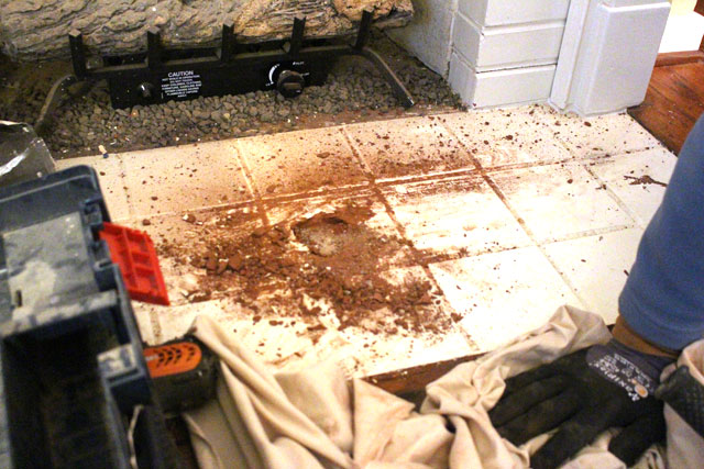 Failed Attempt to Remove Tile with Drill Bit