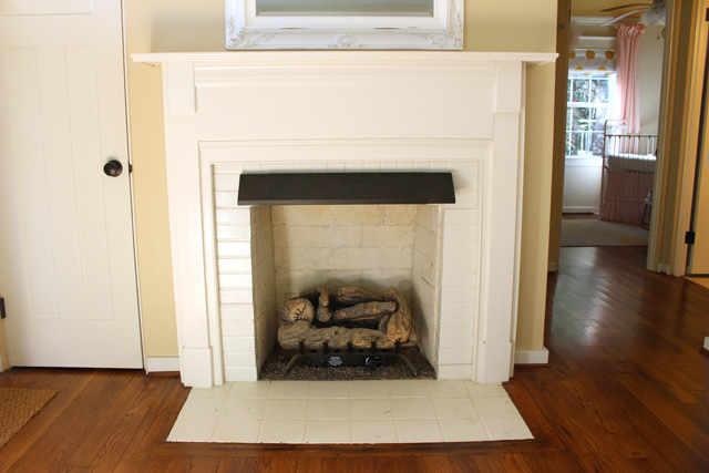 Fireplace Mantel Before Repair and Update