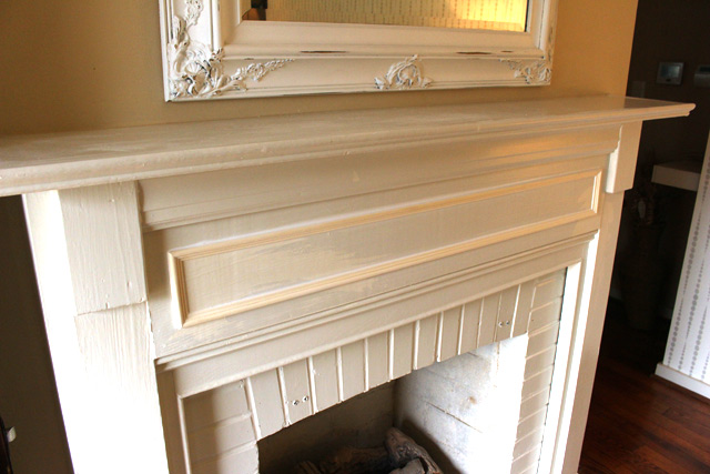 applied molding on fireplace mantel breastplate