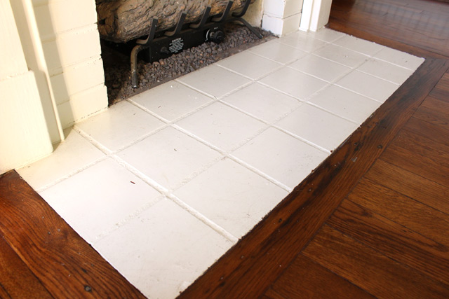 Painted Quarry Tile Fireplace Hearth