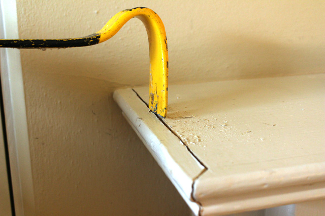 Removing Molding with Pry Bar
