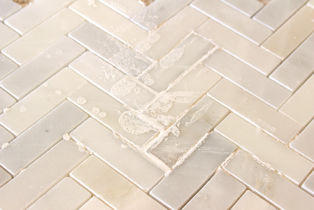 Thinset on Face of Marble Tile