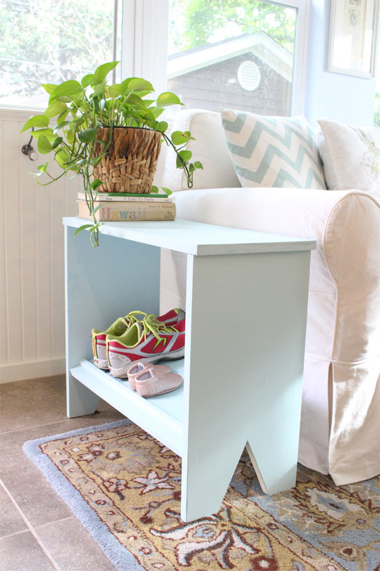 Blue End Table Shoe Rack in Sunroom