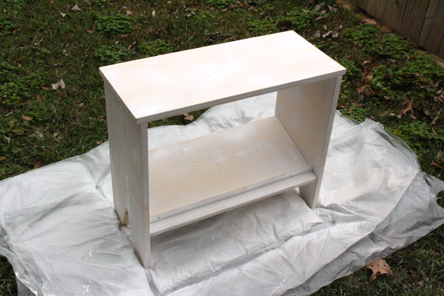 Spraying Primer onto End Table