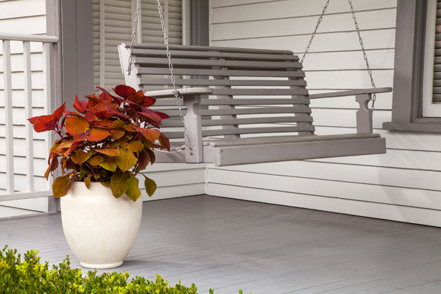 White Stone Monroe Planter on Porch