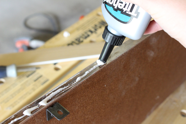 Applying Quick and Thick Glue to Shelf