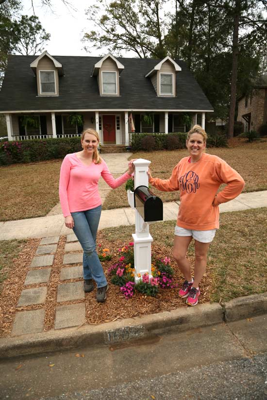 Chelsea And Tiffany With Completed Mailbox Garden