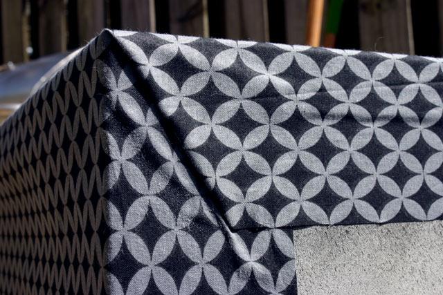 Fabric Folded on Back of Cabinet