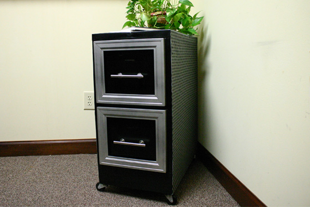 metal file cabinet after makeover