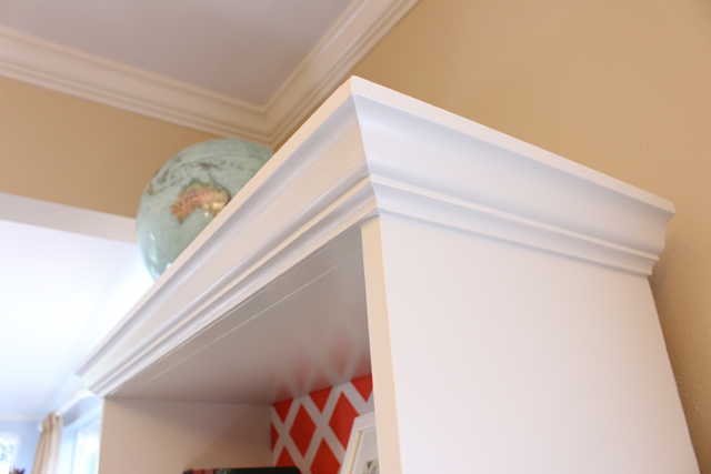 New Crown Molding on Bookshelf