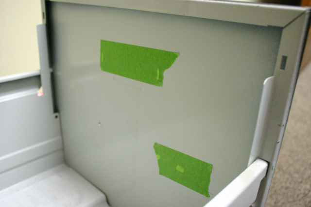 Painter's Tape on Inside of Drawer Front