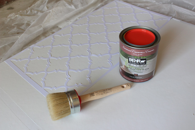 Stencil Paint and Brush for Background