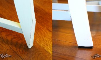 Before and After wooden Chair Leg Repair