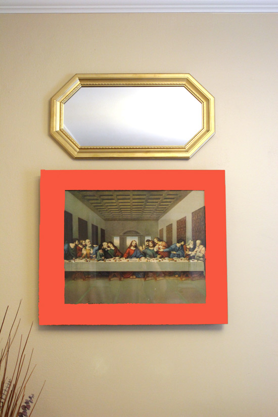 photoshopped poppy red on frame of last supper painting