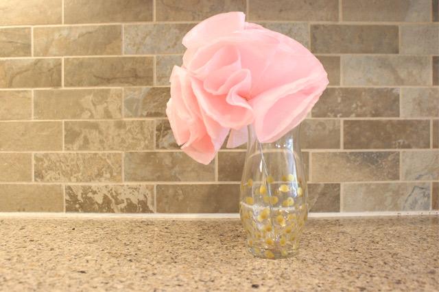 Pink Paper Flowers in Gold Polka Dot Vase