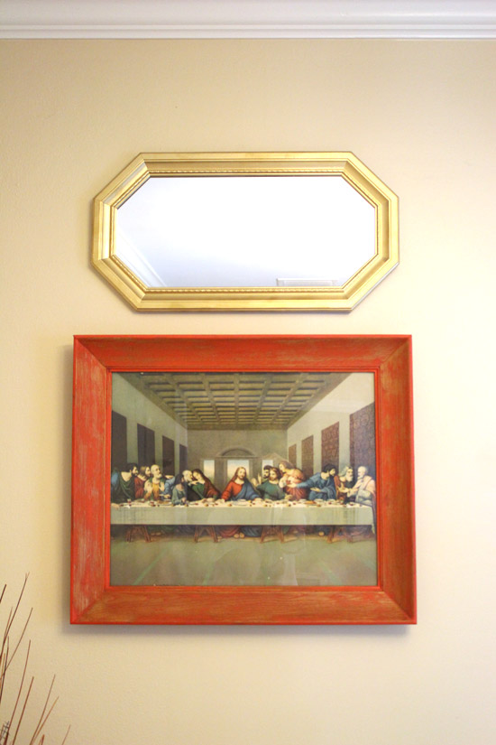 Red Stained Frame with Gold Mirror on Wall