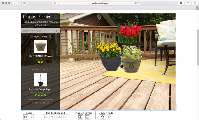 living space designer interface in safari web browser