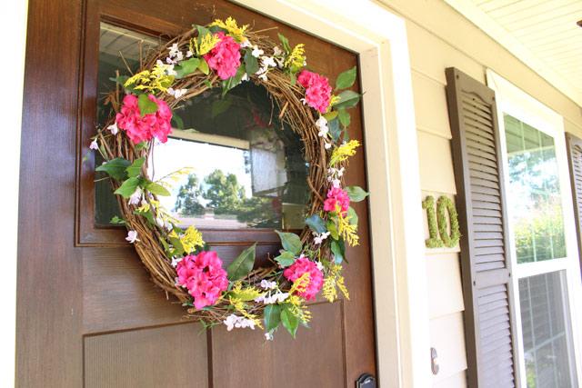 Floral Summer Wreath Hanging on Door