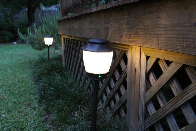 Haven Light Fixtures at Dusk around wooden deck