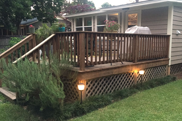 Right Side of Deck with Haven light and repellent Fixture