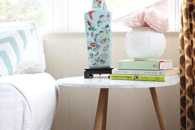 end table with faux marble contact paper on top