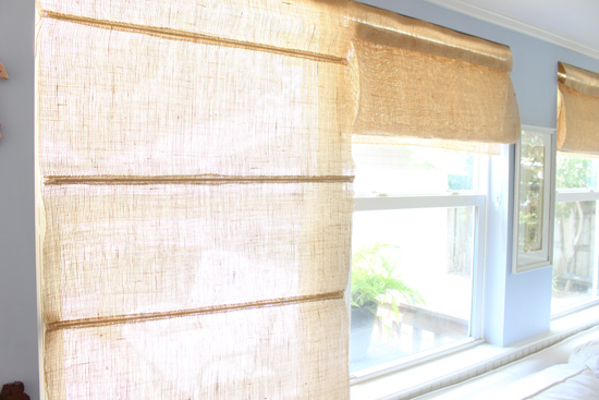Burlap Roman Shade Down and Pulled Up
